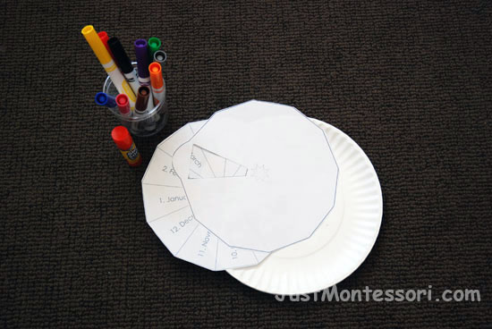 Year Wheel using paper plates