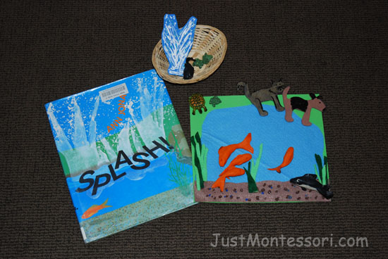 I used little a wooden cat and dog from the craft store and painted them to match the animals in the book. The fish are made from clay. I found the small turtles at a craft store as well and made the pond with felt.
