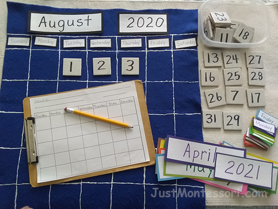 One of the teachers had this type of calendar work in her classroom. I thought it was a great idea and had to make one for my own classroom. I used puff paint to define the spaces and used small tiles to write the numbers on. then I made all the months and days of the week using different colored card stock paper.