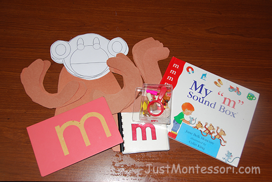 Letter sound m lesson with monkeys for art.
