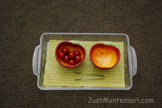 Transfer Apples with Tongs