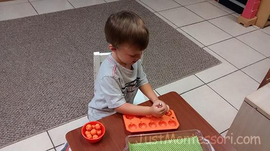Tweezing Mini Pumpkins