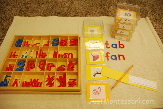 I also make little booklets for the words to be written in with each box. Other boxes and baskets contain materials such as reading words, word lists, and sentence building as part of the progression throughout the program.