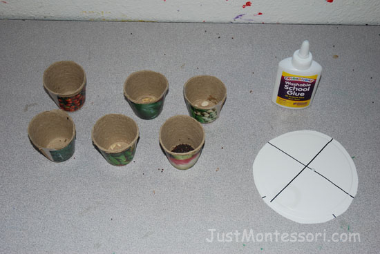 Provide a variety of seeds and children can make a seed wheel.