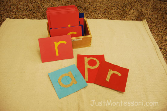 Home Made Sandpaper Letters (A set can be made using cardstock and sandpaper)