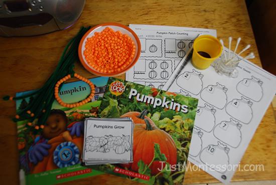 Pumpkin books with worksheets and pumpkin bracelet making.